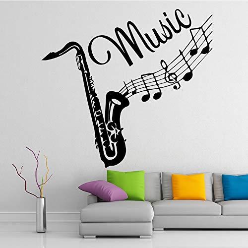 weiaikeke Kreative Posaune Musikinstrument Wandaufkleber Kinder Schlafzimmer Abnehmbare Vinyl Mode Musik Wandtattoo Selbstklebende Tapete 43 * 46 cmNein Rahmen