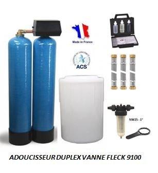 Adoucisseur d'eau duplex 2x150L fleck 9100 complet