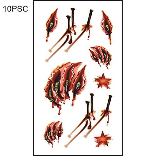 (Temporäre Tattoo Halloween 10 Stück, Tattoo Aufkleber Zombie Gefälschte Blood Injury Tattoos Faux wasserdichte Gefälschte Horror Scar für Halloween Halloween Kostüm Make-up Cosplay Party Abend)