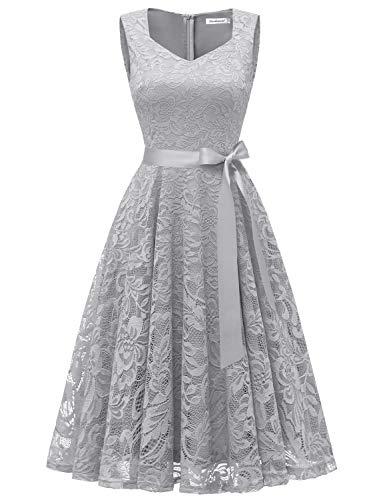 GardenWed Damen Elegant Spitzenkleid Strech Herzform Abendkleid Cocktailkleider Partykleider Grey L