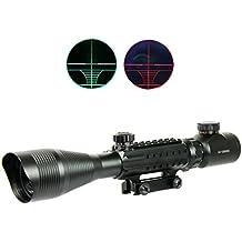Miras de arma 4-12X50 airsoft alcances tácticos óptica luz verde rojo doble w / Rails y Mont lateral de la caza de