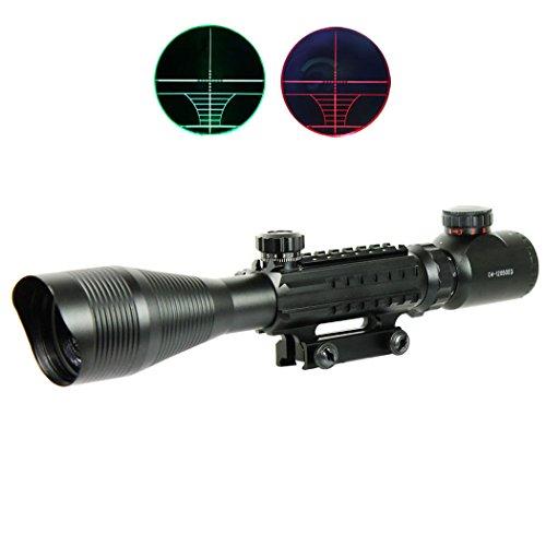 IRON JIA'S Spike 4-12X50 Airsoft Tactique Optique Lunettes de visée Rouge Vert Double Lumineux w/Side Rails & Mont Chasse