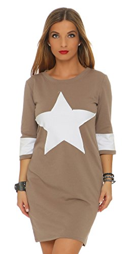 Mr. Shine Damen Frauen Herbst Spring Langarm Fashion Long Shirt Kleid mit Stern Patch Bleistiftkleid Pulloverkleid Abendkleid Minikleider (XXXL, Cappuccino) (Italienische Jacke Shirt)