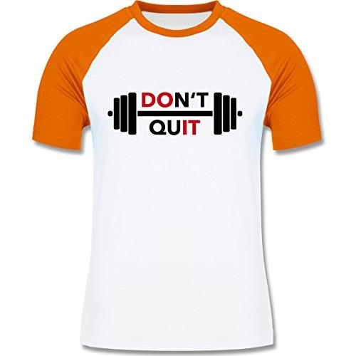 CrossFit & Workout - Don't quit - zweifarbiges Baseballshirt für Männer Weiß/Orange