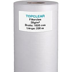 Filtervlies für Vliesfilter | Vliesrolle 200m x 100cm 20g/m² | für alle Koi Teich Vlies-Filter geeignet | hydrophiles wasserdurchlässiges Fleece | 1000mm Topclear Filtervlies in Profiqualität