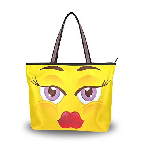 Emoya Damen Tote Schultertasche Emoticon Happy Emoji Top Handle Casual Tote Shoulder Work Casual Bag L, Mehrfarbig - multi - Größe: Medium