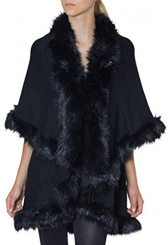 CASPAR Damen ausgefallener Poncho / Jacke / Umhang mit hochwertigem Kunstfell Kragen - viele Farben - PON002, Farbe:schwarz;Größe:One Size