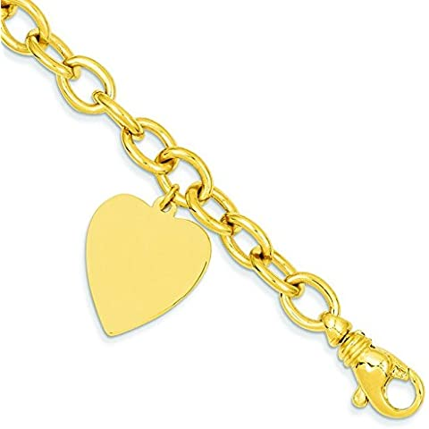 14kt oro Link bracciale Charm Cuore–Lobster Claw–20centimetri