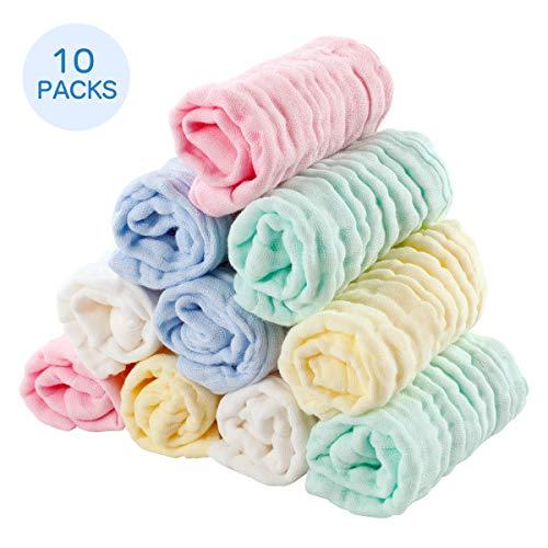 EXTSUD 10 Stücke Baby Musselin Waschlappen Baby-Handtücher Weiche Neugeborene Baby Gesichtstücher Baby Wipes aus Bio-Baumwolle 25 * 25 CM