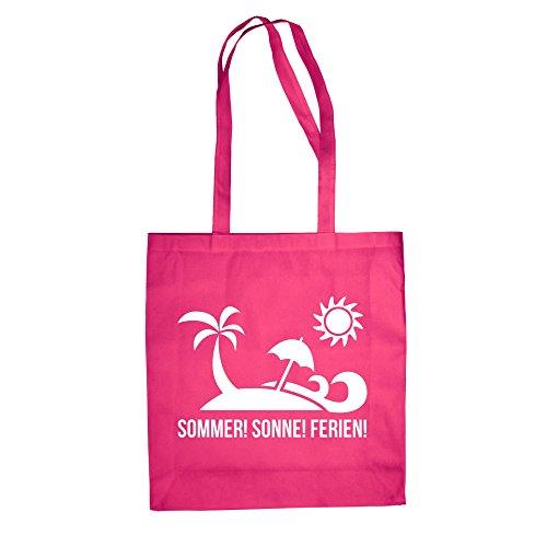 Jutebeutel Baumwolltasche - Sommer Sonne Ferien - von SHIRT DEPARTMENT fuchsia-weiss