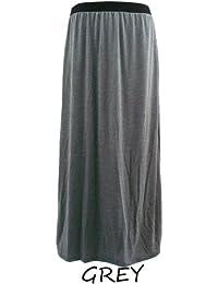 Lush Clothing Womens Ladies Plus Size 16,18,20 Plain Long Stretch Jersey Gypsy Maxi Skirt-Bnwt - Grey - Xxl=Uk 18