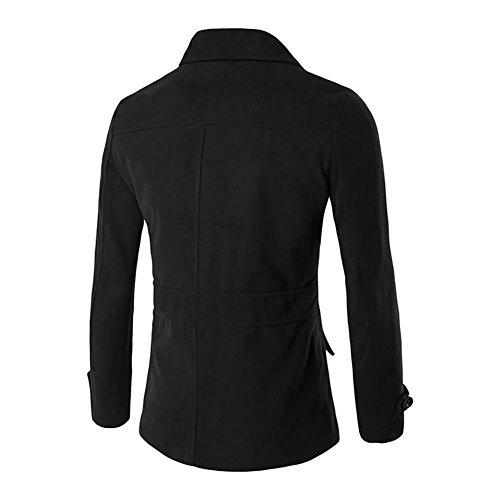 BiSHE Herren Mantel Mens Peacoat Jacken Wolle Zweireihiger Trenchcoat Trun-down-Kragen Mantel Black