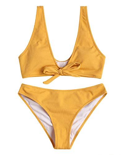 ZAFUL Damen Bikini-Set mit Bogen Gerippter Textur Badeanzug Bademode Swimsuit Swimwear Bikinis Set Small Gelb