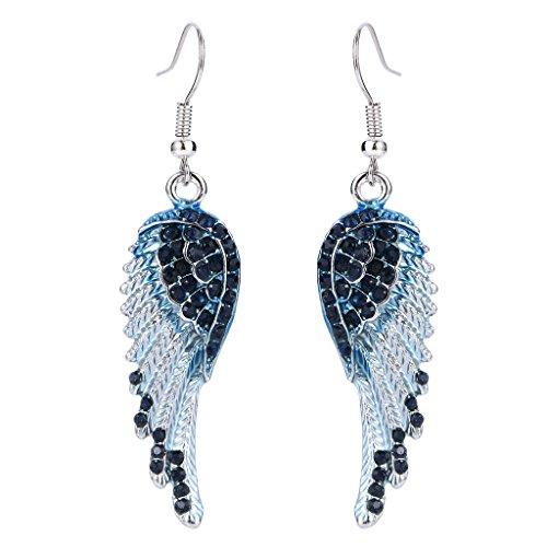 EVER FAITH® österreichischen Kristall elegant Engel Flügel Blume Party Ohrring Anhänger Blau Silber-Ton (Und Teufel Flügel Engel)