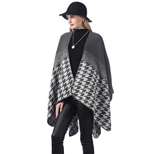 LoveLeiter Damen Kapuzen Poncho Cape für Frauen aus Strickmaterial mit Zierfransen Cape Schal Winter Reversible überdimensioniert Decke Cape Schals -