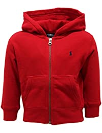 8491U felpa bimbo POLO RALPH LAUREN zip cappuccio rosso sweatshirt kid