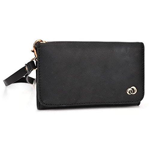 Kroo Pochette Housse Téléphone Portable en cuir véritable pour Motorola Moto X Play violet noir
