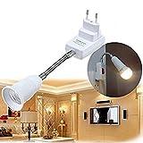 Lanlan Universal flexibel verstellbar Konverter Adapter-Stecknuss mit Schalter europäischen Verordnung Stecker E27Lampe Halter LED-Glühbirne