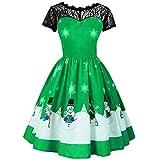 KPILP Abendkleider Frauen Mädchen Weihnachten Formelle Kleidung Langarm Spitze Patchwork Petticoat Druck Bluse Shirt Vintage Kleid Party Winter Kleid(A-grün,EU-40/CN-M)