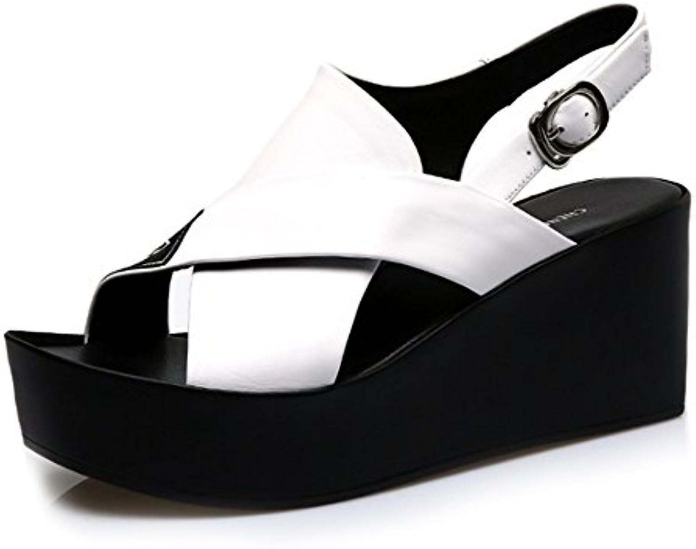 Cómodo Pendiente con las sandalias Zapatos planos de las sandalias del verano femenino Sandalias gruesas de los...
