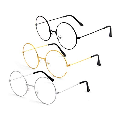 Runde Brillen Metallrahmen klare Linse Gläser für Männer, Frauen, 3 Paare