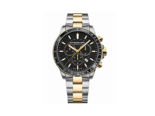 Montre à Quartz Raymond Weil Tango, PVD Or, Noir, 43 mm, Chronographe