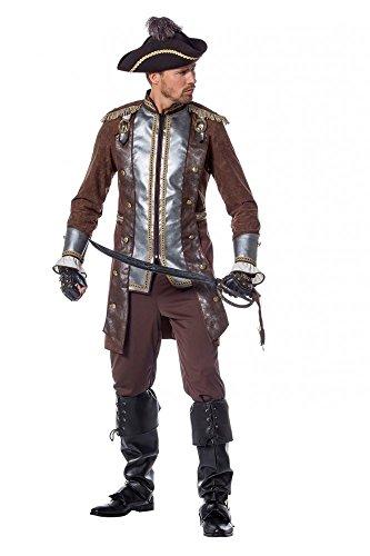Gehrock Kostüm Piraten - shoperama Deluxe-Set (1) Piraten-Kostüm für Herren - Braun/Silber/Gold - Gehrock und Hose Plus Gratis-Accessoires Hut, Gamaschen, Augenklappe, Größe:52