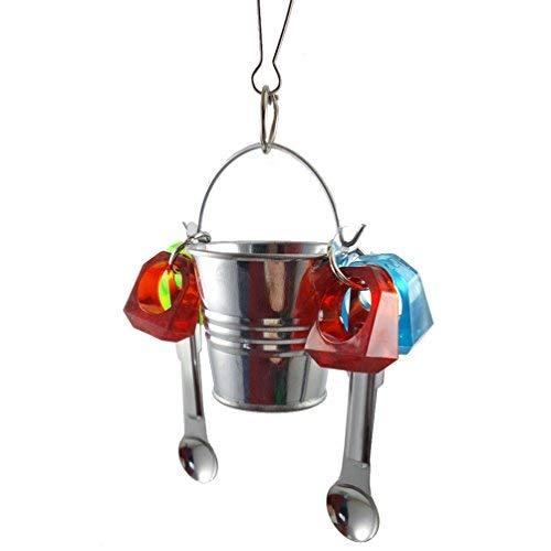 Hypeety Parrot Feeder Tasse support Perche double fonction Parrot Cage jouet Cuillère Delight jouet pour oiseau Parrot Cage à suspendre à mâcher Jouets pour Gris du Gabon Amazones Amazon