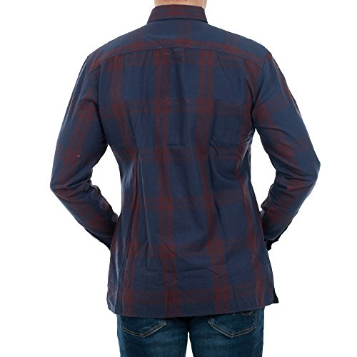 JACK & JONES Camisa Hombre Azul Marino 12135674 JCOMALAGA Shirt LS Worker Sky Captain/Slim Bordeaux