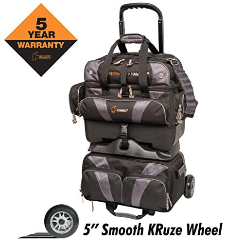HAMMER Premium 4-Ball stapelbar Bowling Bag, H400-50, Black/Carbon, Einheitsgröße