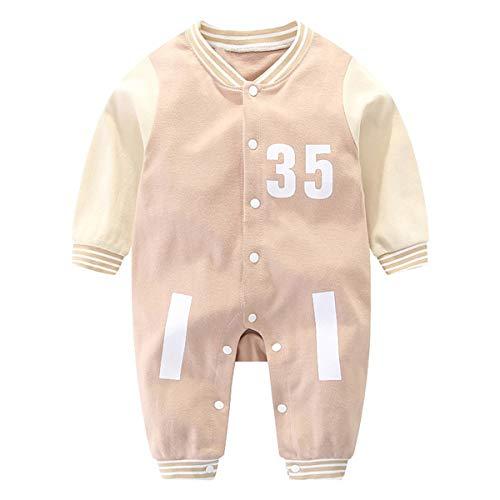 Mibuy Baby Overall Weich Atmungsaktiv Onesies Frühling Herbst Lange Ärmel Baumwolle Krabbelanzug Neugeborene Schlafanzug Kleidung 3-18 Monate -