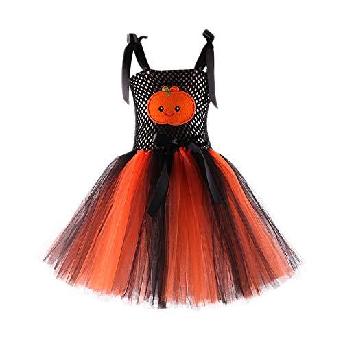 Baby Kinder Mädchen Ärmellos Kürbis Drucken Kleid Tütü Kleid Mädchen Prinzessin Kostüm Kinder Glanz Kleid Halloween Verkleidung Karneval Party von ()