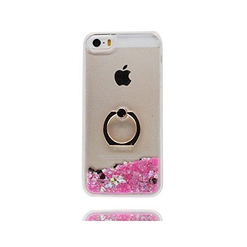 iPhone 5S Custodia, 3D Bling che scorre liquido scintillante disegno rigido TPU indietro ring supporto Case Cover Copertura per iPhone 5 SE 5G - Disney sirena - Graffi Resistenti # 9