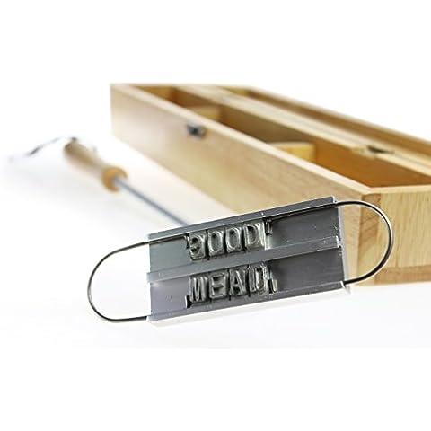 Marcador de carne para la barbacoa con letras intercambiables y caja de madera – El herramiento para marcar carne de Crazy Kitchen – Utensilios de barbacoa – Regalos para hombres