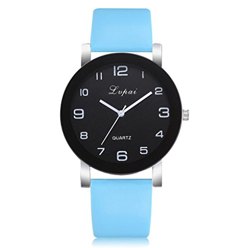 squarex Uhren für Damen Verkauf Business Classic, die Armbanduhr lvpai Damen-Armbanduhr Casual Leder Band Quarz Analog Armbanduhr, Damen, Himmelblau, AS Show