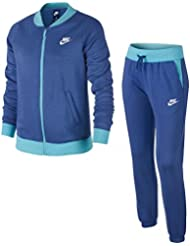 Nike G Nsw Trk Suit Bf Chándal, Niñas, Azul (Comet Blue / Vivid Sky / Comet Blue / White), S