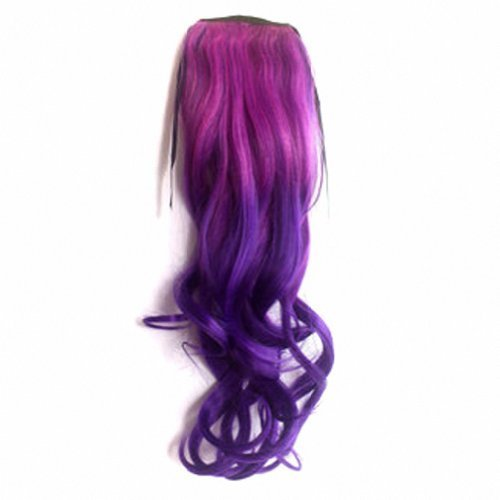MapofBeauty 50cm/20 Pouce Longue Droit Queue de cheval Femmes Queue de cheval (Violet-Rouge/Violet)