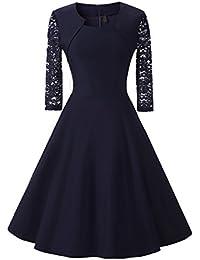 Damen Abendkleid 3/4 Ärmel-Spitzenkleid mit Angenähtem-Bolero, (Kostor) A-line und Empire Taille Kleider, Knielang Elegant Cocktailkleid mit Spitzen 4 Farben(Gr.36-46)