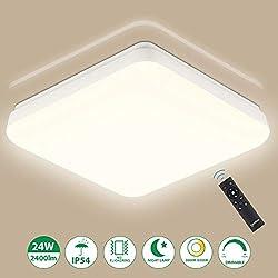 LED Deckenleuchte Dimmbar mit Fernbedienung 24W, Oeegoo IP54 Wasserdichte LED Deckenlampe, 2400Lm Flimmerfreie Lampe für Wohnzimmer Schlafzimmer Kinderzimmer Bad Balkon Flur Garten 3000K-6500K