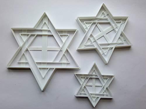 Lot de 3 emporte-pièces en forme de judaïsme hébraïque Motif étoile de David