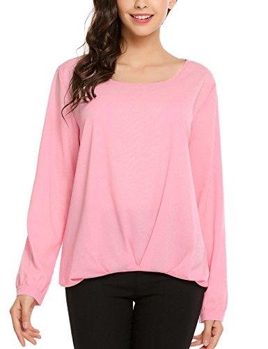 Meaneor Shirt Damen langarm Bluse Loose Fit Oberteil sommer T-Shirts Pink
