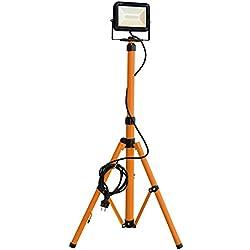 Tibelec 347660 Projecteur LED de chantier sur pied télescopique 1700 lumens, Plastique, 20 W, Noir/Orange, 0m86-1m76