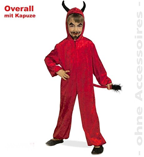 Kinder-Kostüm Teufel Teufels-Kostüm Teufelchen, kleiner Satansbraten, Little Devil Overall rot (Mit Overall Bauern Kostüm)