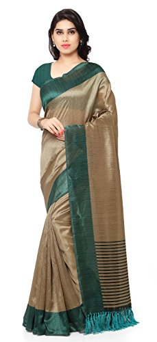 Rajnandini Women's Tussar Art Silk Saree (Joplnb3011E, Teal Green, Free Size)