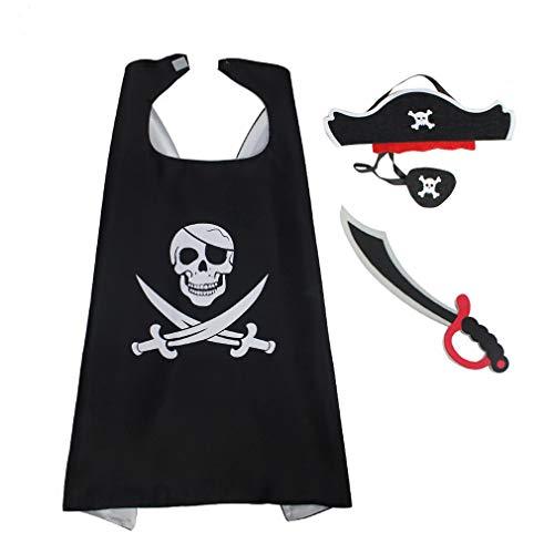 ten Jungen Kostüm Piraten Zubehör mit Piraten Kapitän Cape, Maske Cap und Messer für Kinder Kostüm Halloween Cosplay Schwarz ()