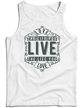 lepni.me Camisetas de Tirantes Para Hombre AME La Vida Que Vives - Vive La Vida Que AMAS - Citas Inspiradoras,...