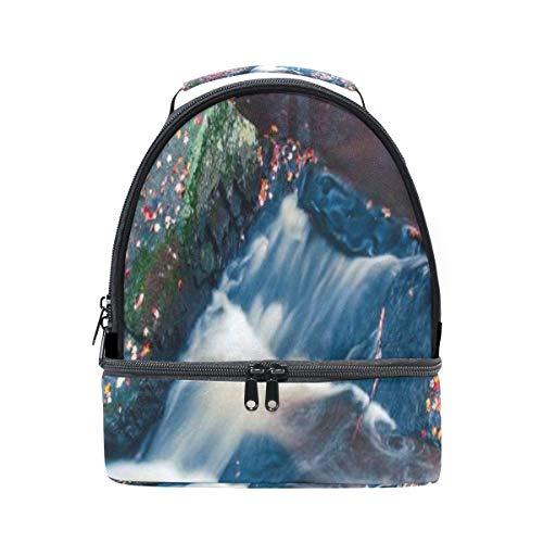 Fantastische Saisonal Wald Landschaft Tragbare Schule Schulter Tote Lunchpaket Handtasche Kinder Doppel Lunchbox Wiederverwendbare Isolierte Kühler Für Frauen Student Reise Outdoor