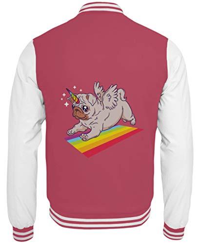 MOPS Einhorn Regenbogen T-Shirt Hoodie - Dorsale de la Veste universitaire -S-Rose Chaud-Blanc -
