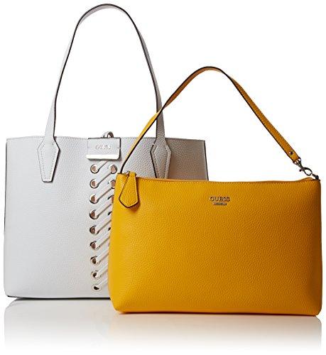 Guess Bobbi, Borsa a Spalla Donna, 12.5 x 27 x 42.5 cm (W x H x L) Multicolore (White Yellow)
