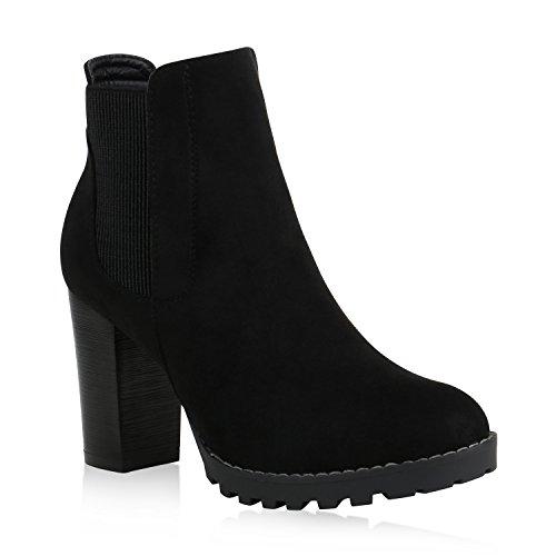 Booties Heel Wildleder High (Stiefelparadies Damen Chelsea Boots High Heels Stiefeletten Wildleder-Optik Schuhe 156726 Schwarz Bernice 41 Flandell)